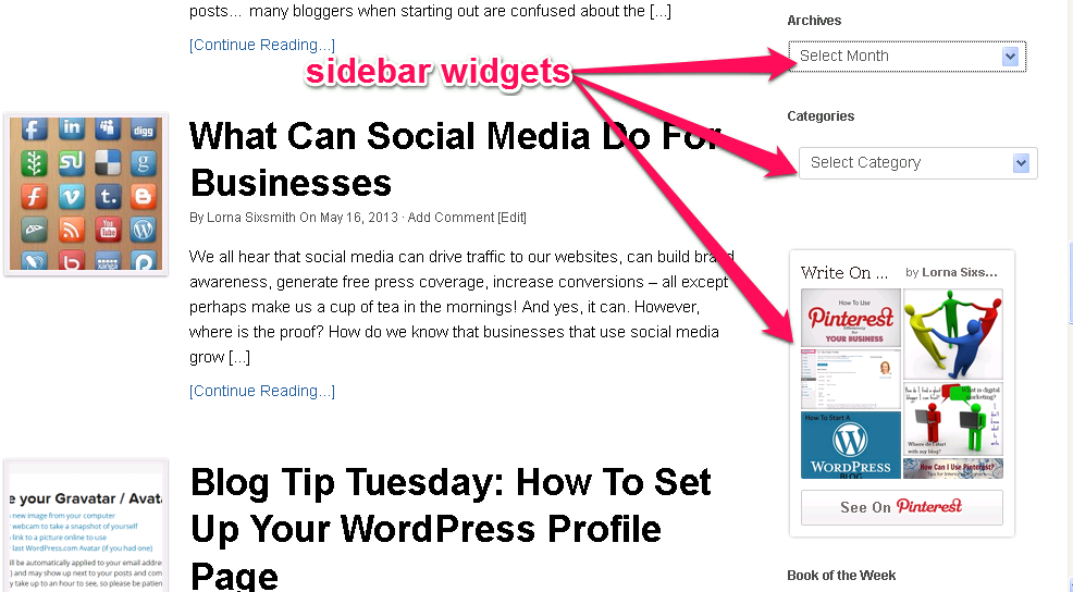 Image result for sidebar widgets