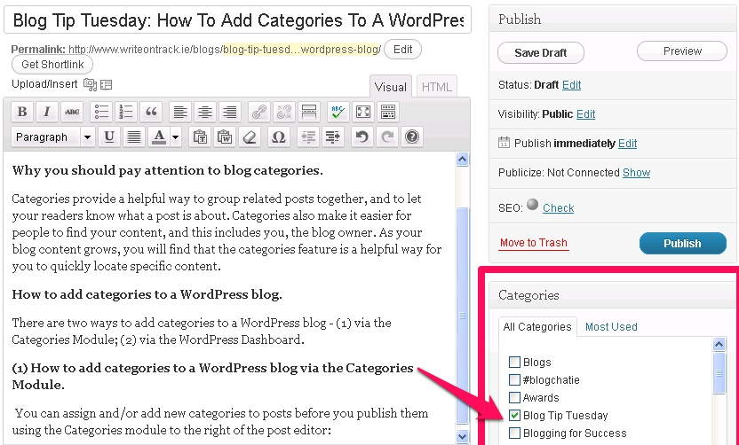 Category Blogs  >> How To Add Categories To A Wordpress Blog Write On Track