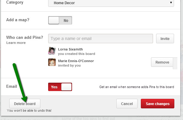 How to delete a Pinterest board