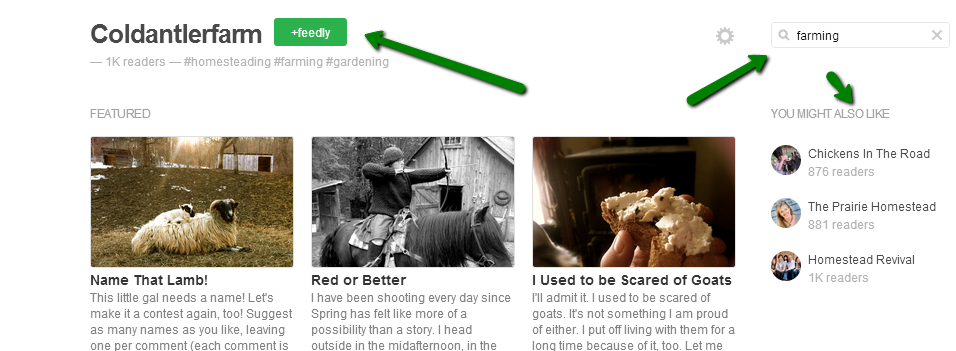 How to find content on feedly