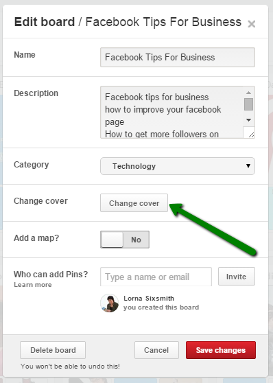 how to change your board cover on Pinterest